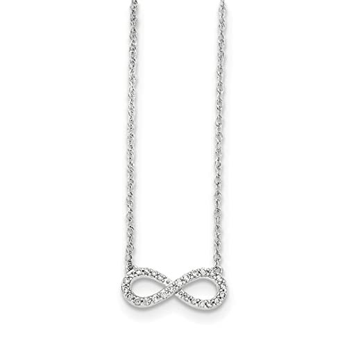 Ice Carats 14k White Gold Diamond Infinity Symbol Chain Necklace