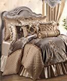 Jennifer Taylor Home 9 Piece King Size Embroidered Woven Plush Comforter Set, Multicolored/Gold Brown