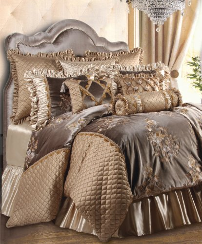 (Jennifer Taylor Home 9 Piece King Size Embroidered Woven Plush Comforter Set, Multicolored/Gold Brown)