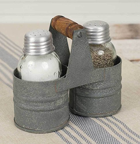 Farmhouse/Cottage/Primitive Mason Jar Salt & Pepper Can Caddy Holder (Cottage Jar)
