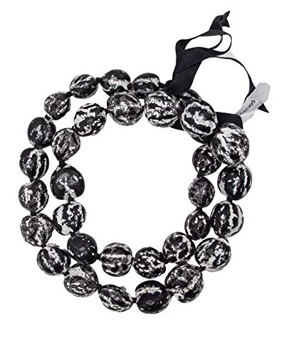 Barbra Collection Hawaiian Style Kukui Nut Lei Hibiscus Flower Hand Painted 32 Nuts (White Marble)
