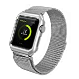 Apple Watch Band, 42mm with Metal Case Shockproof Protective Screen Bumper w Anti-scratch Soft Rubber Lining, Milanese Loop Magnetic Mesh Stainless Steel for iWatch Sport & Edition – Silver