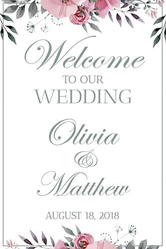 Wedding Reception Sign, White Wedding Banner, Size 36x24, 48x24, 48x36, Welcome to our Wedding, Wedding party Banner, Wedding Party Signs, Custom Wedding Sign, Handmade Party Supply Poster -