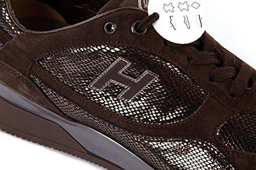 Hogan chaussures baskets sneakers femme en daim elective marron