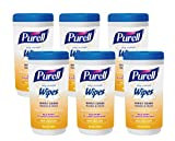 Purell 9122-06-CMR Hand Sanitizing Wipes, Fresh Citrus Scent, 40 Count Canister (Pack of 6) (Packaging may vary)