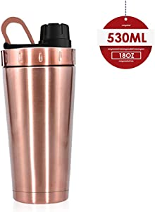 Moonice New Shaker Bottle, Stainless Steel, with Heat-Resistant Handle,Keeps Liquids Hot or Cold with Double Wall Vacuum Insulated Sweat Proof Shaking Water Coffee Cup for Home,Office,School