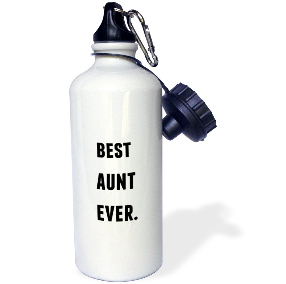 Black Letters On A White Background Sports Water Bottle 21 oz Multicolor 3dRose wb/_213361/_1Best Aunt Ever
