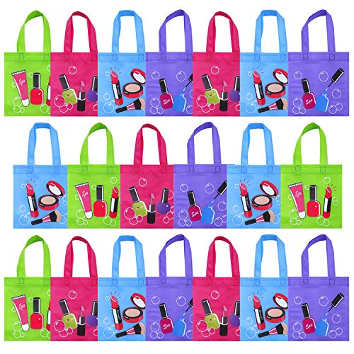 Elcoho 20 Pieces Spa Party Non-Woven Bags Tote Gift Bags Spa Day Bag Birthday Party Treat Bag with Handles for Girl's Party Favors, 8 by 8 Inches, 4 Colors (Socks Kids Woven)