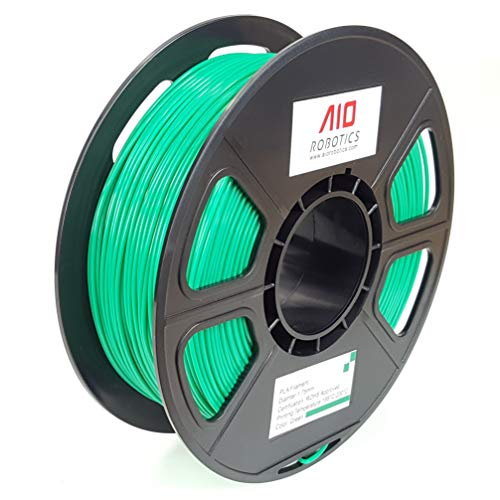 AIO Robotics AIOGREEN PLA 3D Printer Filament, 0.5 kg Spool, Dimensional Accuracy +/- 0.02 mm, 1.75 mm, Green