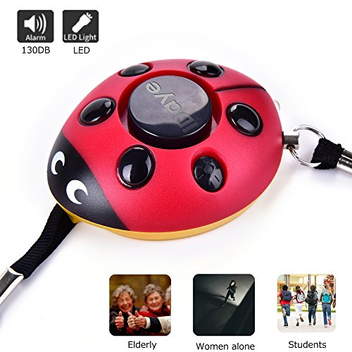 130DB Safety Emergency Personal Alarm KeyChain with LED Light,iDaye Ladybug-Shaped Siren Voice Self Defense...