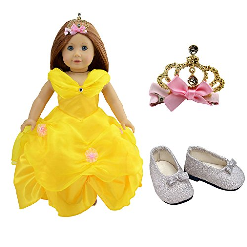 dreamtoyhouse American Girl Doll Clothes Princess Belle Royal Ball Gown Party Dress & Golden Crown for 18 Inch Dolls ()