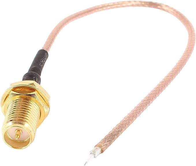 sourcing map 13cm Antena RG178 Cable Cordón con Resistencia de 50Ohm con Jack Adaptador RP-SMA Hembra para WiFi