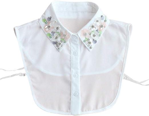 Tinaa - Camisa de mujer con pedrería ajustable y falso cuello desmontable blanco blanco: Amazon.es: Ropa y accesorios