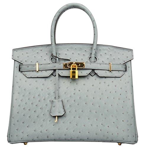 Ainifeel Women's Ostrich Embossed Leather Top Handle Handbags (35cm, Grey blue)