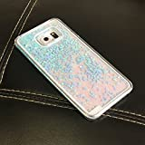Galaxy S6 Edge Plus Case, Crazy Panda® Samsung Galaxy S6 Edge Plus 3D Creative Design Flowing Liquid Floating Bling Glitter Sparkle Star Love Crystal Clear Case Cover for S6 Edge Plus - Blue Love