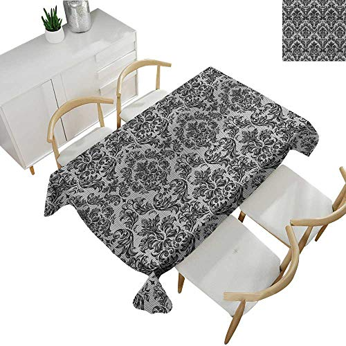 Antique Lace Collection - Baroque,Decor Collection Table Cloths Vintage Lace Style Pattern of Antique Victorian Motifs Renaissance Influences Table Cover for Outdoor and Indoor Black and White 50