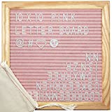 ReadyWerks Pink Felt Letter Board 10x10 inches - Changeable Pink Letter Boards Include 340 White Plastic Letters & Oak Frame