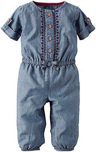Carter's Baby Girls' 1 Piece Footies and Rompers, Denim, Newborn