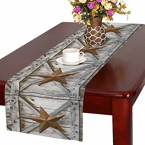 InterestPrint Western Texas Star on Rustic Old Barn Wood Table Runner Linen & Cotton Cloth Placemat Home Decor for Wedding Banquet Decoration 16 x 72 Inches]()