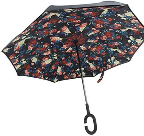 60f80009cc378 Double Layer Reverse Umbrellas Push Button Women Men Long Handle Windproof  Customizable Umbrella,Style 19