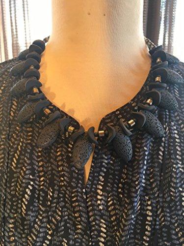- Custom Couture l Denim blue blouse with denim blue lava geometric necklace 1511