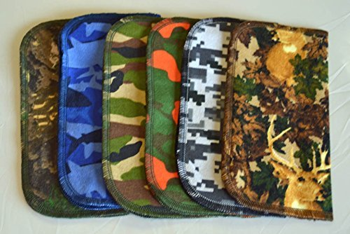 1 Ply Printed Flannel Washable, Colorful Camouflage Set Napkins 8x8 inches 5 Pack - Little Wipes (R) (Handmade Camouflage)
