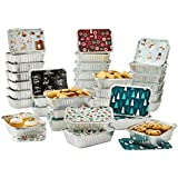 Set of 36 Christmas Treat Foil Containers - 6 Holiday Designs, Snowman & Santa Festive Cover Print - Aluminum