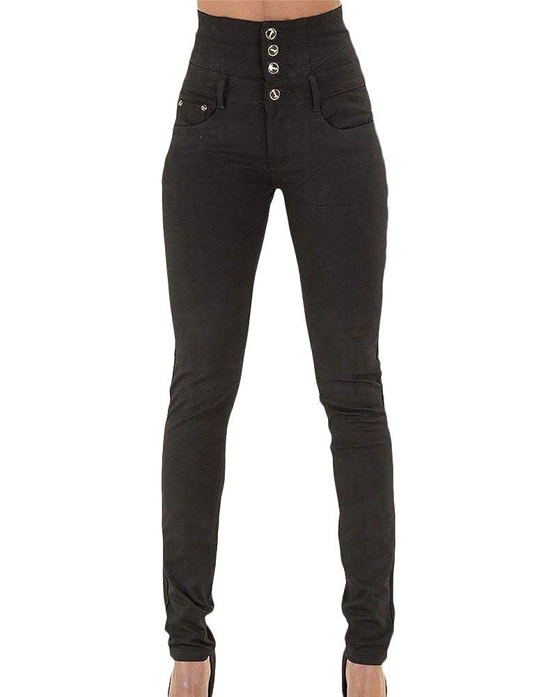 TALLA S(Cintura 68CM). Kasen Mujer Pantalones Vaquero Skinny Push Up Pantalones Elástico Jeans Cintura Alta