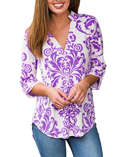 Tengo Women Casual V-Neck 3 9 Sleeve Tunic Tops Floral Print Blouse (Purple Floral Shirt)