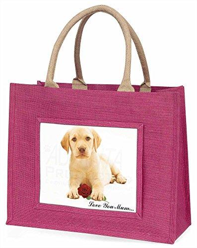 Advanta Labrador mit Rose Love You Mum Große Einkaufstasche/Weihnachtsgeschenk, Jute, pink, 42x 34,5x 2cm