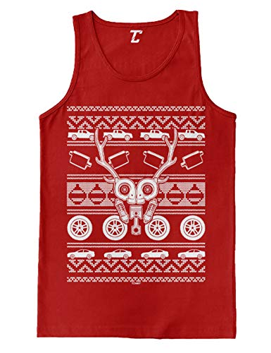 (Car Parts Reindeer - Xmas Ugly Christmas Men's Tank Top (Red, Small))