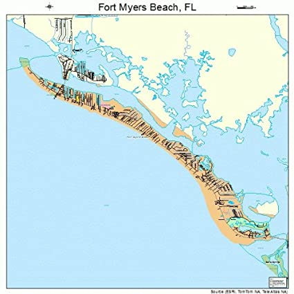 Amazon.com: Large Street & Road Map of Fort Myers Beach ...