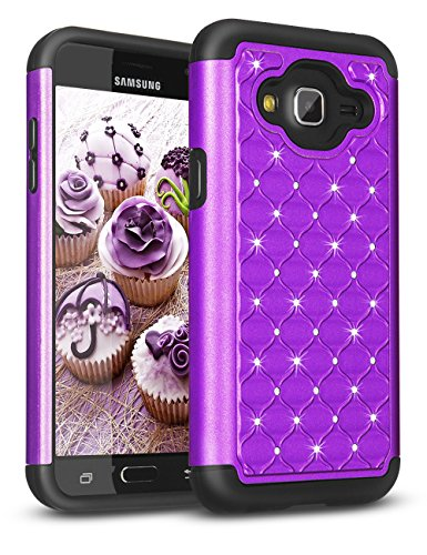 Samsun Galaxy Sky Case, J3/J3 V Case, Galaxy Express Prime/Amp Prime Case, Pacific Asiana [Radiant Series] Crystal Shining Rhinestone Rubber Defender Plastic Rugged Hard Case Cover for J3 (Pacific Hybrid)