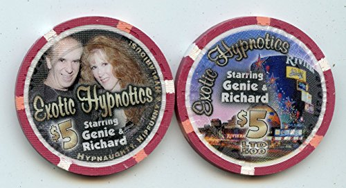 $5 Riviera Exotic Hypnotics Starring Genie & Richard Live Shows at The Riviera Old Obsolete Las Vegas Nevada Casino Chip Uncirculated Collectors Condition Chip Real Live chip ()