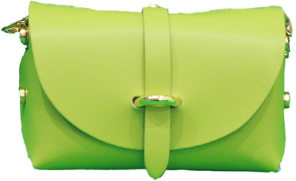 A to Z Leather Sac pochette en cuir véritable pour femme doté d'une bandoulière en chaîne d'or détachable. Personnalisable avec vos initiales. Vert Citron