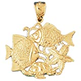 CleverEve 14K Gold Pendant Tropical Fish, Coral, Turtle, And Starfish 4.1 Grams