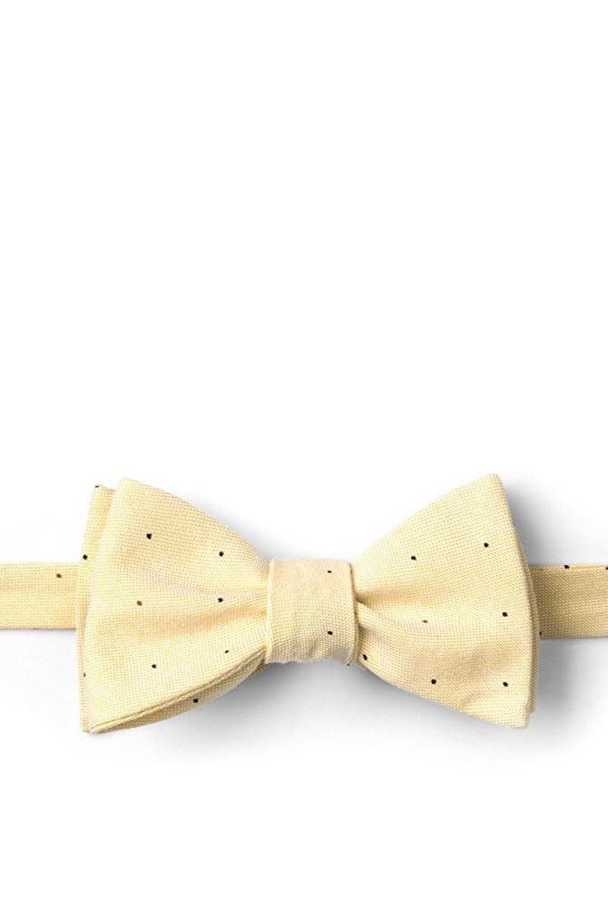 Yellow Warner Cotton Polka Dots Yellow Cotton Butterfly Bow Tie
