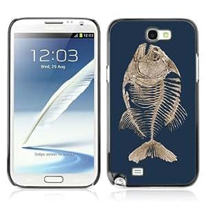 Designer Depo Hard Protection Case for Samsung Galaxy Note 2 N7100 / Fishbone Fish Skeleton