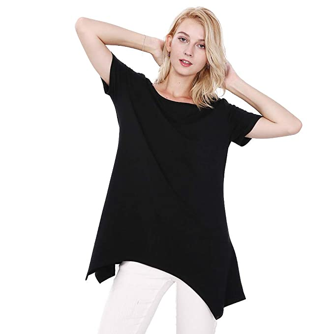 a455d06d8 Women's Casual T-Shirts Round Neck Blouses Fashion Short Sleeves Tee Tops  at Amazon Women's Clothing store: