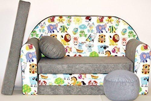 Sofá Cama para niñosA5con puf, reposapiés y Almohada, Tela Multicolor, 168x 98x 60cm