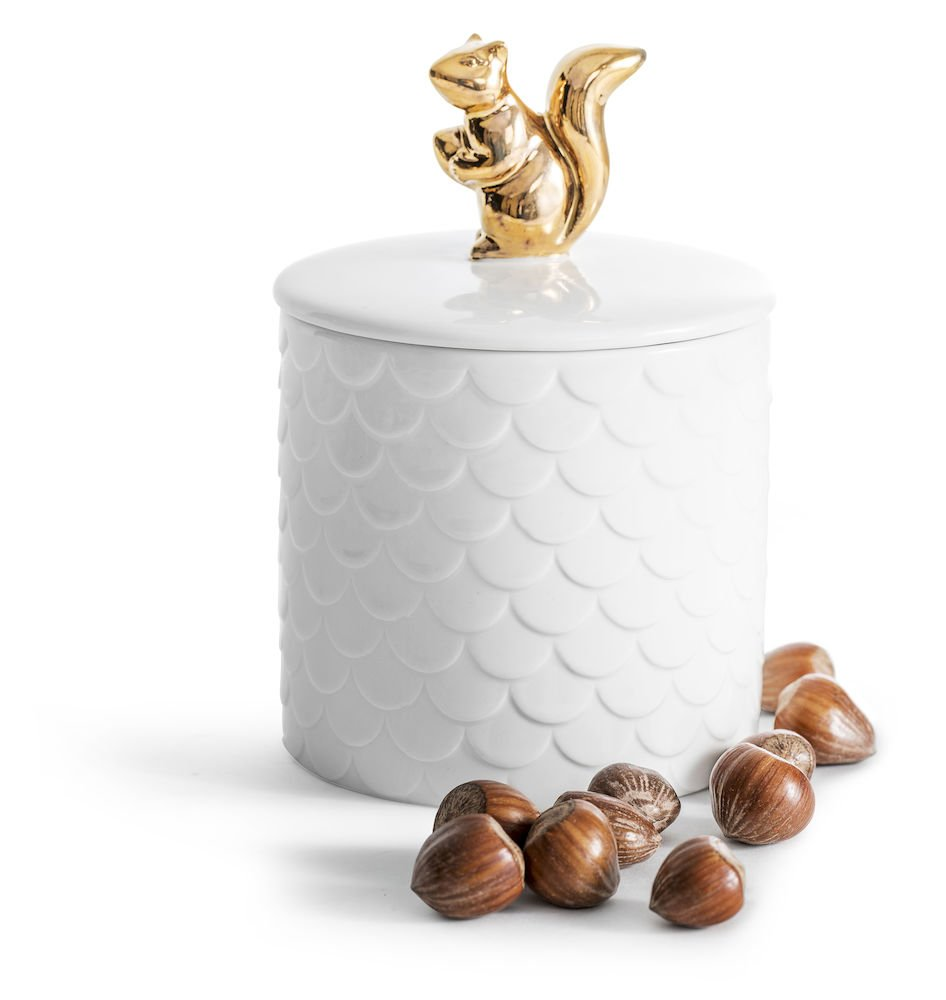 Sagaform 5017703 Holiday Squirrel jar with lid, White
