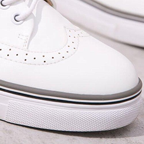 Bullock NAN donna UK5 5 tacco Colore Scarpe PU Bianca Primavera confortevole bianco piatto da dimensioni Bianca CN38 Scarpe EU38 a1Yr1