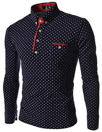 Mlhgy Mens Dot Long Sleeve Polo Shirts Long Sleeve Polo Stand Collar Male Polo Shirt Navy Blue Polo Shirt (Morph Suit Price)
