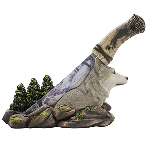 orest Centerpiece With Stainless Steel Display Knife By DWK | Wildlife Decor For Rustic Cabin & Lodge Decor Statues (American Wildlife Display)