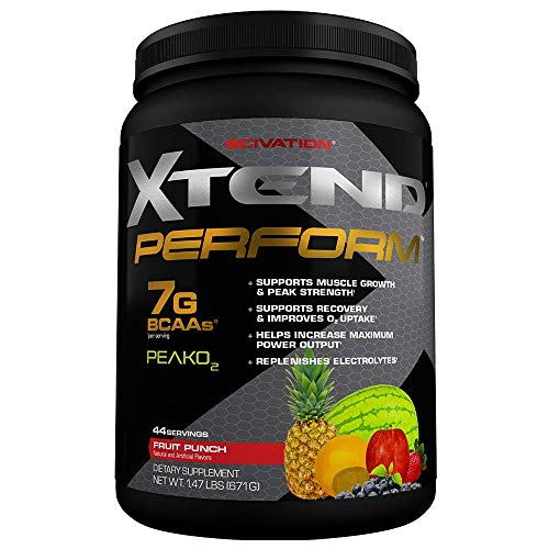 (Scivation Xtend Perform BCAA Powder, Peak O2, Glutamine, Citrulline Malate, Fruit Punch, 44 Servings)