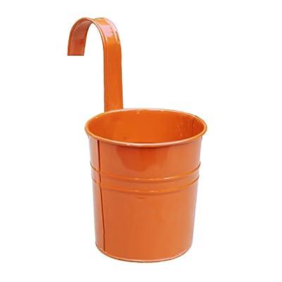 Ydida Flower Pots Hanging,Garden Pots Balcony Planters Flower Pots,Metal Iron Hanging Flower Plant Pots Balcony Garden Plant Planter Baskets Fence Bucket Pots Flower Holders with Detachable Hook: Home Improvement