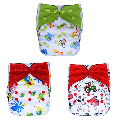 Charcoal Bamboo All In One Cloth Diapers with Inserts, 3-pack (Unisex / (Overlap Print Liner)