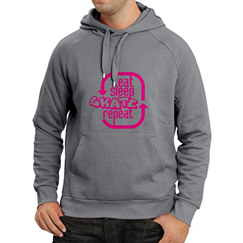Hoodie Eat Sleep Skate Repeat - for Professional Skater Accessories, Skating Clothing (XX-Large Graphite Magenta) (Witze Lager)