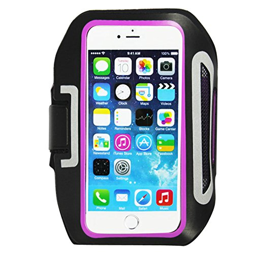 Iphone 6, 6S 4.7 Sports Armband for Running + Fitness Workouts, with Card Holder, Key Holder, Earphone connection, Slim & comfortable, Water Resistant, Adjustable 100% Touch Sensitivity (Purple) (Iphone 3gs Nike Case)