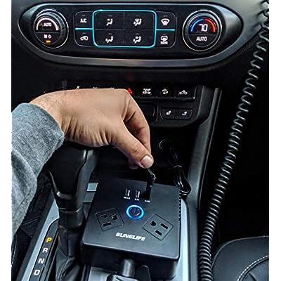 SUNGLIFE 150W Car Power Inverter, DC 12V to 110V AC Converter with 1 Socket Cigarette Lighter Adapter: Automotive